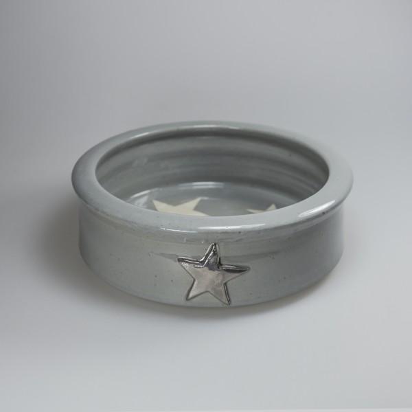 Hundenapf Keramik Stern silber groß