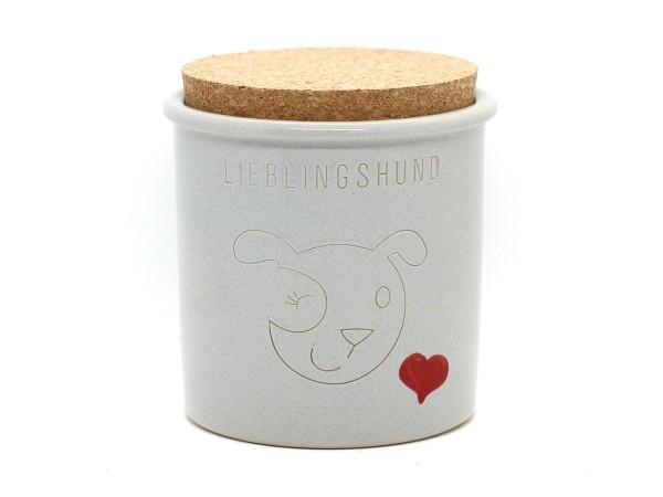 Keramikdose für Leckerlis, hellgrau mit Herz