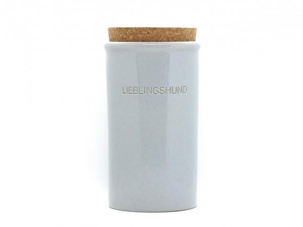 Keramikdose für Leckerlis, groß, grau glänzend
