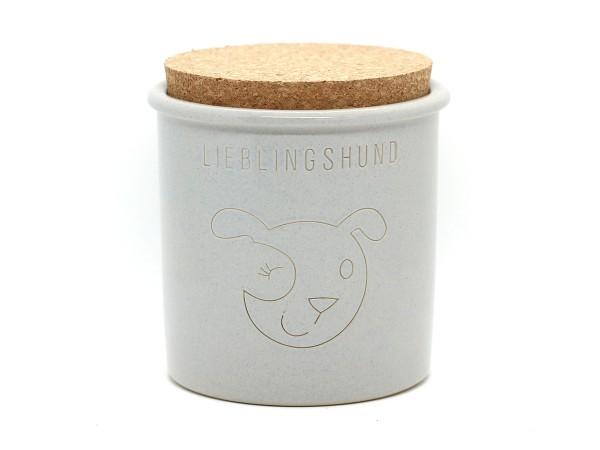 Keramikdose für Leckerlis, hellgrau