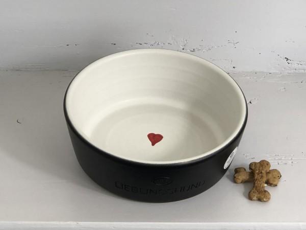Hundenapf aus Keramik Lieblingshund Herz mittel